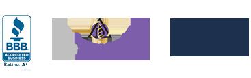 Better Business Bureau Logo, Top Dentist badge, and Washington State Dental Association Logo