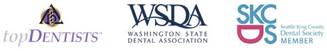 Top dentist badge, Washington State Dental Association Logo, and Dental Society Member Badge