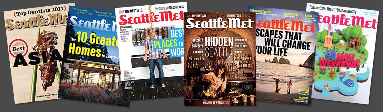 Covers of six different issues of Seattle Met magazine where Dr. Pauley was voted a Top Bellevue Dentist