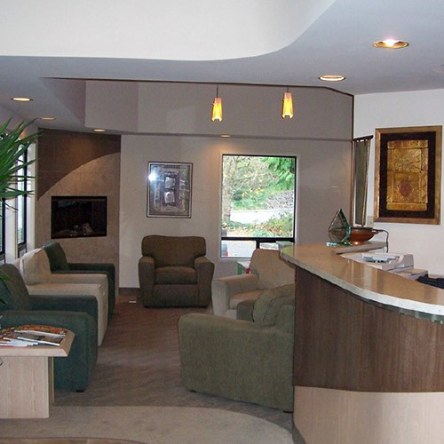 The front desk and modern lobby of Brookside Dental in Bellevue, WA.