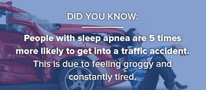 People with sleep apnea are more likely to get in an accident because of it's symptoms