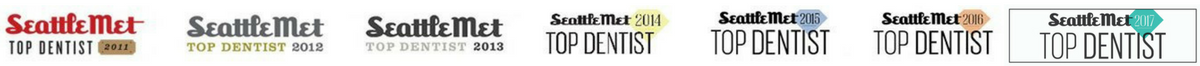 Seattle Met Top Bellevue Dentist badges spanning six years