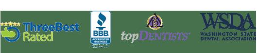 Bellevue dentist awards badges -Three Best Rated Better Business Bureau Logo, Top Dentist badge, and Washington State Dental Association Logo, International College of Dentists Logo