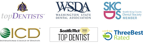 Bellevue dentist award badges - Top dentist badge, Washington State Dental Association Logo, and Dental Society Member Badge