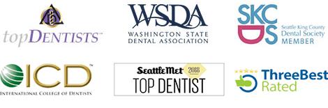 Bellevue dentist award badges - Top dentist badge, Washington State Dental Association Logo, and Dental Society Member Badge