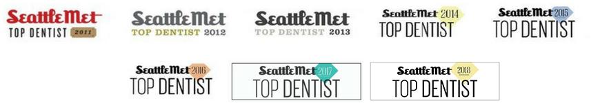 Seattle Met Top Bellevue Dentist badges spanning six years