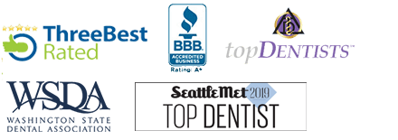 Bellevue dentist awards badges -Three Best Rated Better Business Bureau Logo, Top Dentist badge, and Washington State Dental Association Logo, International College of Dentists Logo