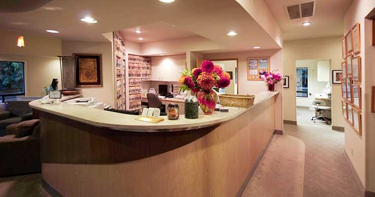 Our modern front desk at Brookside Dental.