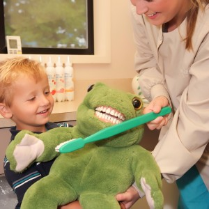 Tooth Brushing Demonstration with Frog and Toothbrush